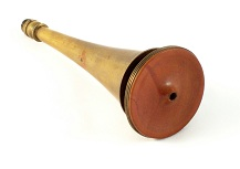 Brass and wood Piorry stethoscope for carrying